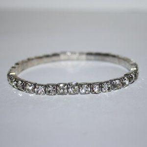 "Stretch silver rhinestone bracelet 7"""